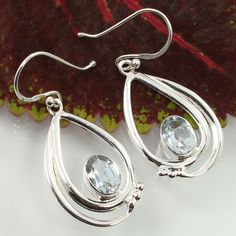 925 Solid Sterling Silver Real BLUE TOPAZ Gemstones Antique Collection Earrings #Unbranded #DropDangle