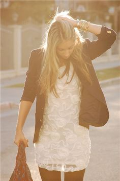 white dress, blazer, tights, and booties.
