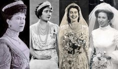 Queen Mary's fringe diamond tiara worn by Queen Mary, the Queen Mum, Queen Elizabeth II, and Princess Ann.