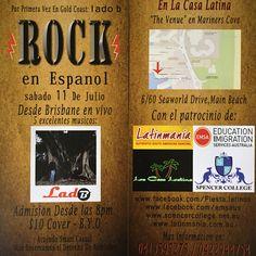 El viernes 11 de Julio desde Brisbane en Vivo Lado B rock en Español una noche de Tertulia $10 BYO Te esperamos !!