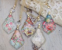 Storage Jewelry How to Create Amazing Art from Antique Paper Collectibles, Ephemera: How to use Antique Paper Scraps to Create Chandelier Crystal Jewelry Pendants, Ornaments, Decorations Paper Jewelry, Paper Beads, Resin Jewelry, Crystal Jewelry, Pendant Jewelry, Jewelry Crafts, Jewelry Art, Antique Jewelry, Vintage Jewelry
