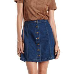 A-Line Button-Up Denim Skirt