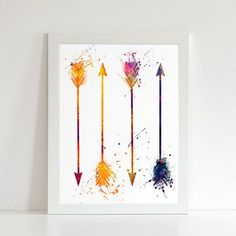 Arrows watercolor illustration art print, Arrows art,home decor, wall art, art print, nursery, map print, urban watercolor, Arrows poster