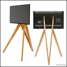 These 2 Front Row Wooden Tripod TV Stands, one with wheels and one without, are made in Germany and hold monitors and tv's up to wide. Tv Furniture, Funky Furniture, Tv Stand Tripod, Tv Floor Stand, Diy Tripod, Tv Holder, Tv Cart, Modern Tv Units, Wooden Tv Stands