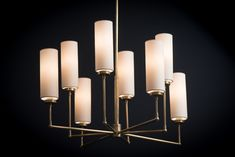 C10:5016HAB-NP Terrance Large Chandelier in Antique Brass with paper Shades Pendant