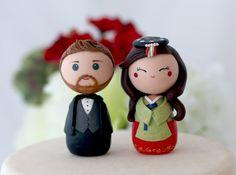 Personalized Korean wedding cake topper kokeshi by Chikipita