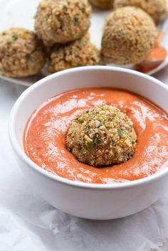 Baked Italian Rice Balls (Arancini) with Creamy Marinara Dipping Sauce | #Balls #Rice #Italian