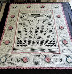 Rose Fillet Afghan ~ free graph of center rose