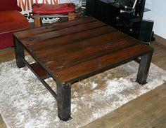 Table basse en bois et fer brut fabriqué main par Artodeco sur Etsy
