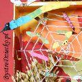 Dary jesieni - praca przestrzenna dla dzieci - sieć pająka i kolorowe owady