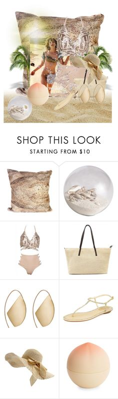 """""""swim and roll"""" by princhelle-mack ❤ liked on Polyvore featuring Elise Flashman, Pier 1 Imports, Millà, Ana Khouri, René Caovilla and Tony Moly"""