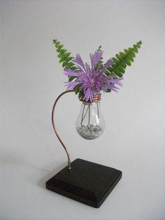Picture of Elegant Lightbulb Flower Vase w/ copper & wooden base - Repurposed & Reused