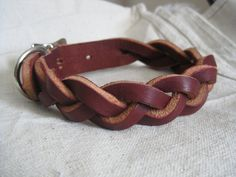 Braided Latigo Leather Dog Collar. $40.00, via Etsy.