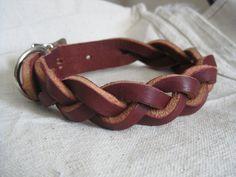 Braided Latigo Leather Dog Collar. $40.00, via Etsy.