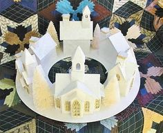 Inspiration photo.   Lighted Paper Mache Ivory Christmas Village Wraparound Circle 6 Houses Putz