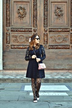 History In High Heels: Outfit: Lace on Lace (Black lace with a pop of pink)