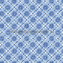 Bloemenruit blauw retro behang