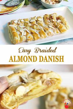 Bake up this Almond Danish Braid for a sweet brunch treat! Flaky pastry, sweet almond filling, crunchy almond topping & a drizzle of icing! Breakfast Pastries, Sweet Pastries, Sweet Breakfast, Breakfast Recipes, Danish Pastries, Dessert Recipes, Almond Pastry, Danish Almond Kringle Recipe, Breads