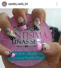 Uñas elaboradas #pink #black Love Nails, Pink Nails, Pretty Nails, My Nails, Nails 2017, Summer Acrylic Nails, French Tip Nails, Finger, Manicure And Pedicure