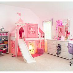 Toddler Girls Bedroom Sets Matrix Low Loft Castle Bed For Girls Playhouse Loft Bed, Loft Bunk Beds, Low Loft Beds, Kids Bunk Beds, Girls Princess Bedroom, Princess Room, Girls Bedroom, Bedroom Ideas, Design Bedroom