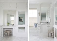 This clean lined, white and bright bathroom is boasting with storage. Who wouldn't want to get ready in here!? Click the image to see more!  #interiordesign #collectiondesignlifestyle Master Bathroom, Bright, Master Bath, Master Bathrooms, Bedroom