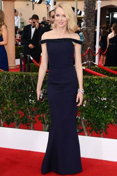 For the SAG Awards, she opted for a navy Balenciaga gown.
