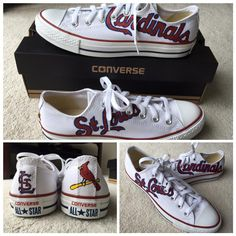 new styles 3f834 60344 Hand Painted Cardinal Logo on white Converse shoes