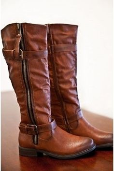 Tall brown knee high boots with zipper great for outdoors ! ♥ Get this look at @SPARKTREND for $40, click the image to see! #boots #boot #womens #fashion