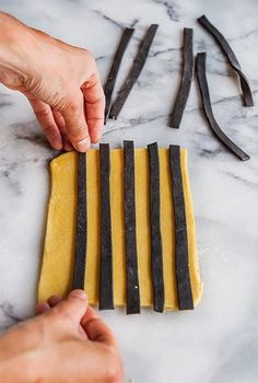 STRIPED PASTA [Italy] [wildgreensandsardines] (http://www.wildgreensandsardines.com/2014/10/spooky-squid-ink-striped-ravioli-with.html)