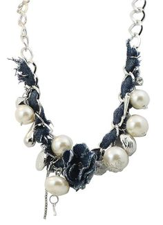 "Alex Carol Denim  Pearl Chain Bib Style Necklace - ""Not Your Mother's Pearls""! -"