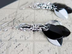 Black Scale Earrings - Black Chainmaille Earrings - Black Dangle Earrings