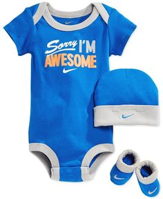 Nike Baby Boys\' 3-Piece Awesome Bodysuit, Hat & Booties Set - Kids & Baby - Macy\'s