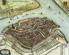 """historie Dordrecht; een oude stadkaart van rond 1000. Tot 1850 speelde hier het leven zich af. Je ziet duidelijke stadsgrenzen. A city map from arround 1000. Untill 1850 this is what the city looked like. There is a very sharp line arround the city. Surrounded by rivers the """" Oude Maas"""" en de """"Merwede""""."""