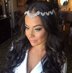 Our beautiful bride Victoria wearing her crystal-encrusted forehead headband from Bridal Styles Boutique!