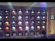 Man Cave Room, Man Cave Basement, Man Cave Diy, Man Cave Garage, Men Cave, Football Man Cave, Sports Man Cave, Nfl Football Helmets, Football Banquet