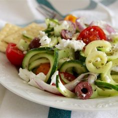 "Greek Zoodle Salad | ""Don't change a thing - it's perfect as is! I made this tonight to pair with baked lemon chicken, and it was incredible. The longer it marinates in the dressing, the better. """