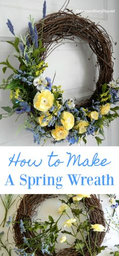 How to Make a Pretty Wreath to Beautify Your Home DIY a Pretty Rustic Spring Wreath for your Front Door. Get great tips and ideas on how to make YOUR unique grapevine wreath beautiful. Diy Spring Wreath, Spring Door Wreaths, Diy Wreath, Grapevine Wreath, Wreath Ideas, Easter Wreaths Diy, Tulle Wreath, Winter Wreaths, Burlap Wreaths