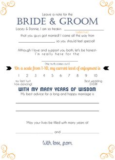 Mad Lib Wedding Advice Cards ~completely customizable to your names, date, and colors!