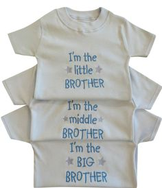 I m The Little Middle Big Brother Boy Baby Blue White T Tee Shirt Funny Gift