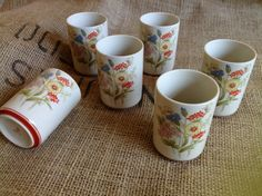 Set of 6 1970s stoneware tea or sake cups by rediscoverd on Etsy, $8.00