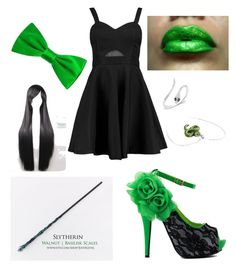 """Slytherin Yule Ball"" by kittydemon on Polyvore featuring Boohoo and Deakin & Francis"