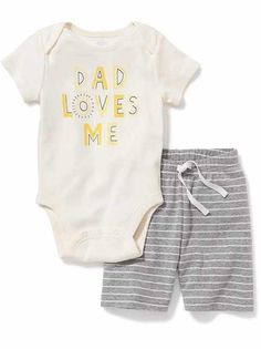 Shop Old Navy for cute outfits and clothing sets for your baby girl. Old Navy is your one-stop shop for stylish and comfortable baby clothes at affordable prices. Baby Bodysuit, Bodysuit Shorts, Body Suit With Shorts, Family Tees, Unisex Baby Clothes, Everything Baby, Baby Boy Outfits, Boy Fashion, Baby Kids