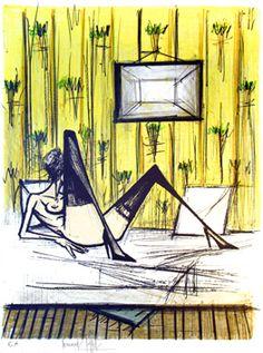 """Bernard BUFFET/""""Jeux de dames"""", lithographie                                                                                                                                                                                 Plus"""