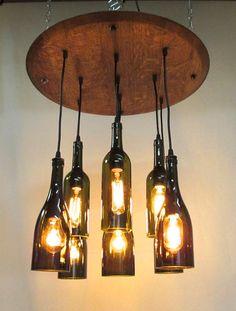 9 Light Wine Bottle & Barrel Top Chandelier Ceiling Fixture Repurposed Restaurant Bar Dining Room - SHag shop  - record room