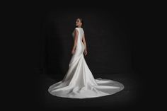 Grace Philips 2017 Mikado A-line mermaid contemporary wedding dress with cap sleeve and godet train