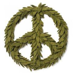 felt peace wreath