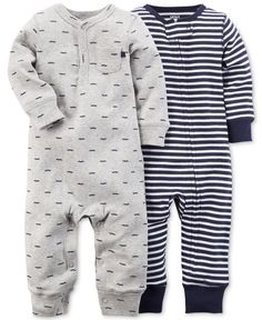 Carter's Baby Boys' 2-Pack Printed Coveralls