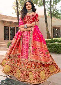 #pink #woven #banarasi #silk #bridal #lehenga #choli #dupatta #designs # traditional #indian #outfits #gorgeous #wedding #look #ootd #new #arrival #womenswear #online #shopping Bridal Lehenga Online, Bridal Lehenga Choli, Indian Lehenga, Silk Lehenga, Silk Dupatta, Lehenga Blouse, Salwar Kameez, Kurti, Party Wear Lehenga