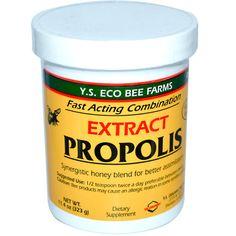 อาหารเสริม โพรพอลิส (propolis) ยี่ห้อ Y.S. Eco Bee Farms, Propolis, Extract, oz g) Bee Propolis, Bee Farm, Sports Food, Vitamins For Women, Raw Honey, Calorie Diet, Serving Size, Organic Recipes, The Cure