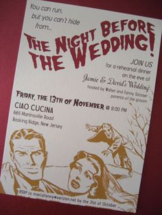 Red Carpet vintage cinema themed wedding save the date - a ...